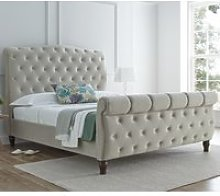 Colorado Warm Stone Velvet Fabric Sleigh Bed Frame