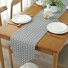 ColorBird Gray Arrow Table Runner Cotton Linen