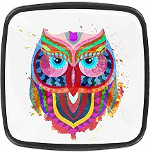 Colored Owl 4pcs Colorful Crystal Glass Cupboard