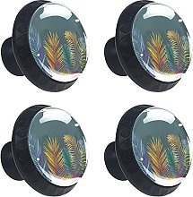 Colored Palm Leaves 4PCS Round Drawer Knob Pull