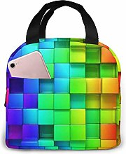 Colorful 3D Backgrounds Lunch Bag,Reusable