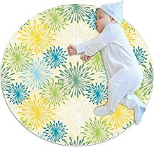 Colorful Abstract Dandelion Round Floor Mat Non