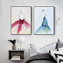Colorful Abstract Lady Poster Nordic Canvas
