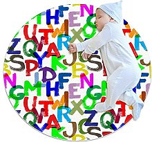 Colorful alphabet, Round Area Rug Pattern Round