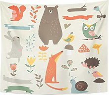 Colorful Bear Forest with Cute Animals Mushrooms