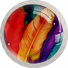 Colorful Bird Feathers Drawer Knobs Pulls Cabinet