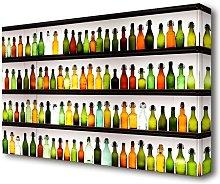 Colorful Bottles Kitchen Canvas Print Wall Art