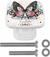 Colorful Butterfly and Ink Spots 4PCS Drawer Knobs