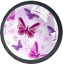 Colorful Butterfly Cabinet Door Knobs Handles