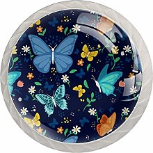 Colorful Butterfly Glass Cabinet Knobs Hardware