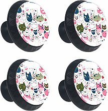 Colorful Cats Pattern 4PCS Round Drawer Knob Pull