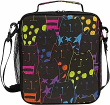Colorful Cats Pattern Cartoon Lunch Bag Insulated