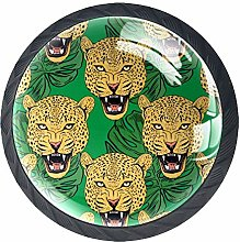 Colorful Cheetah Dresser Crystal Knobs - Glass