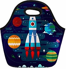 Colorful Craft Flat Space Spaceship UFO and
