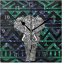 Colorful Decorative Wooden Elephant Wall Clock,