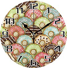Colorful Delicious Donuts Wall Clock Silent Non