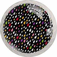 Colorful Drops Drawer Cabinet Knobs Wardrobe 4pcs