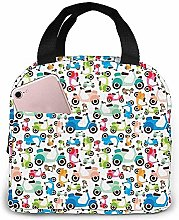 Colorful Electric Vehicle Lunch Bag Reusable Lunch