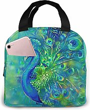 Colorful Feather Peacock Bird Reusable Insulated