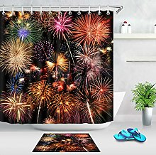 Colorful Firework Shower Curtain 100% Polyester