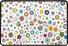 Colorful Floral Doormat Rug Easy to Clean Non Slip