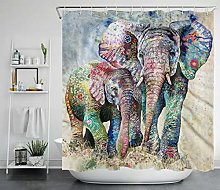 Colorful flower painted elephant mother child HD