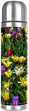Colorful Flower Purple Yellow Tulip Double Wall