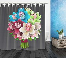 Colorful Flowers Waterproof Fabric Shower Curtain