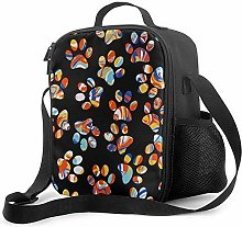 Colorful Footprints Insulated Lunch Box Food
