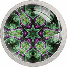 Colorful Fractal Mandala Drawer Knobs Pulls