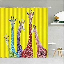 Colorful Giraffe Yellow Shower Curtain Funny Zoo