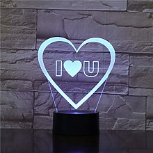 Colorful I Love You 3D Vision Table Lamp Love and