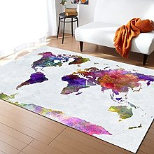 Colorful Map Carpet for Living Room Home Bedroom
