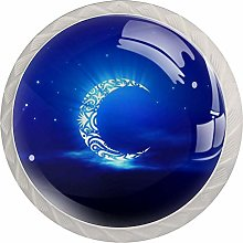 Colorful Moon 4 Pack Glass Drawer Knobs- Round