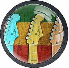 Colorful Music Guitars Cabinet Door Knobs Handles