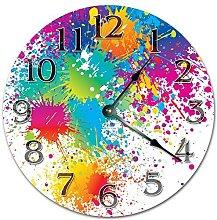 Colorful Paint Splatter Wooden Wall Clock Silent