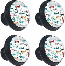 Colorful Plane Helicopter Cabinets Knobs 4pcs for