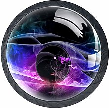 Colorful Racing Art 4 Pieces Crystal Glass
