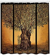 Colorful Shower Curtain Greece Olive Trees Print