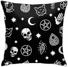 Colorful Skull Cat Moon Gothic Pattern Hidden