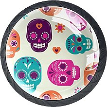 Colorful Skulls Cute Cabinet Knobs Glass Pack of 4