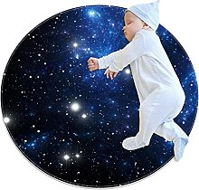 Colorful space star, Printed Round Rug for Kids