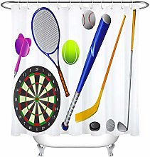 Colorful Sport Equipments Design Shower Curtain