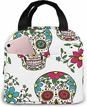 Colorful Sugar Skull with Floral Ornament and