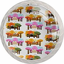 Colorful Tree Drawer Round Knobs Cabinet Pull