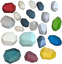 Colorful Wooden Stone for Kids, Wooden Rainbow