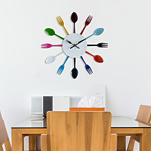 Colourful Kitchen Cutlery Wall Clock - 32cm x 32cm