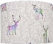 Colourful Stag Linen Print Drum Lampshade (30 cm