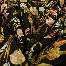 Colourful Tulip Floral Pattern Black Green Blue