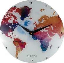 Colourful World Glass 43cm Wall Clock NeXtime
